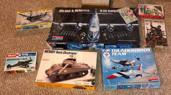 Seven Vintage Military Related Models, Monogram, Snap-Tite, Tamiya