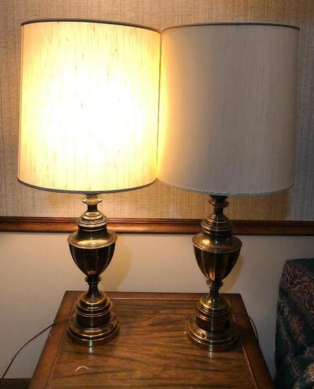 Mid-Century Modern Brass Table Lamps w/ Shades, Stamped 1967 Mfg. 38in to Top