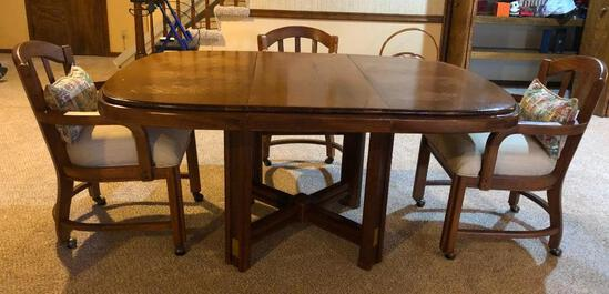 Kitchen Table and Chairs, Solid Wood, 60in x 42in (w/ Leaf) w/ Rolling Padded Chairs w/ Wood Frames