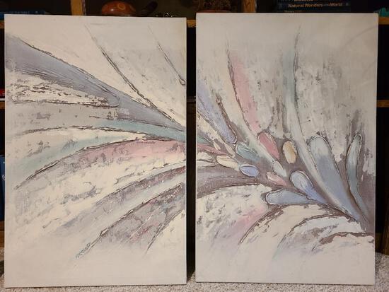 "Original Mario de Ferrante Mid Century Abstract 2-Piece Modern Oil Canvas Painting 24"" x 36"" Each"