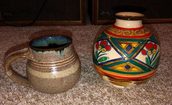 Lot of 2 Small Handmade Pottery Urns or Vase