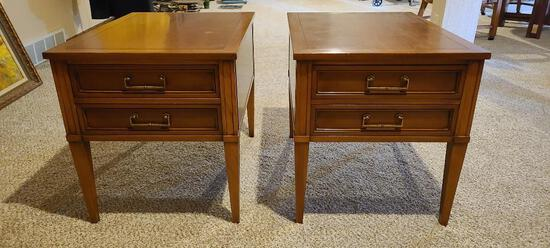 Lot of 2 Mid-Century Modern Hekman End Tables, 20in x 27in x 22in Tall w/ 2 Drawers