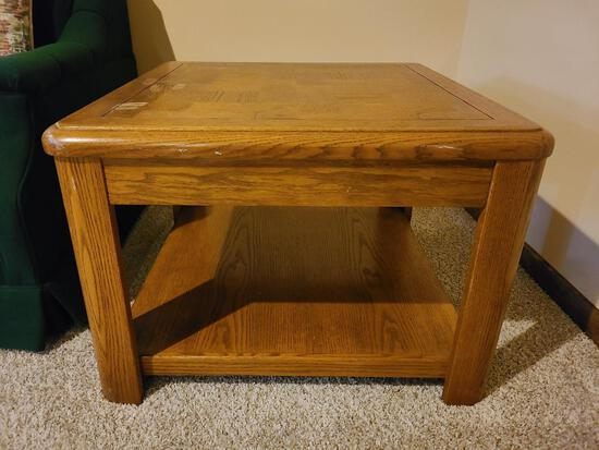 Wooden End Table w/ Under Shelf 28in x 20in