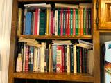 Two Shelves of Cookbooks Plus Extra Cookbooks