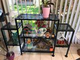 Metal Plant Shelf w/ Some Decorations On Top, 1 Plant
