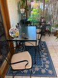 Glass Top Table, Iron Frame w/ Chairs