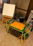 Children's Table and 2 Chairs w/ Dry Erase Homemade Easel