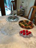 Assorted Trays & Candle Holder - Silver, Glass, etc