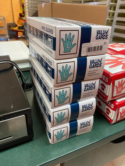 5 Boxes of 100 (500) Vinyl Gloves, Powdered, Size L by Value Gard