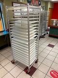 WIN-HOLT ADE1820B/KDA Aluminum Mobile Sheet Pan Rack w/ WIN-HOLT BB 1826 Bagel Boards, 20 Bagel