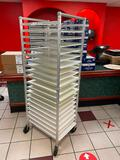 New Age Industrial No. 6301 Aluminum Mobile Sheet Pan Rack w/ WIN-HOLT BB 1826 Bagel Boards, 19