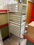 WIN-HOLT ADE1820B/KDA Aluminum Mobile Sheet Pan Rack w/ WIN-HOLT BB 1826 Bagel Boards, 16 Bagel