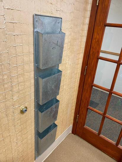 Galvanized Wall Mount 4-Pocket Magazine Rack