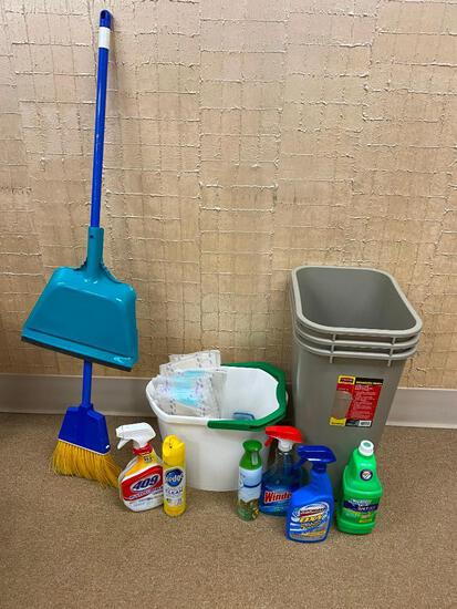 Janitorial Supply, (3) Rubbermaid Waste Baskets, Broom, Dust Pan, Cleaning Supplies
