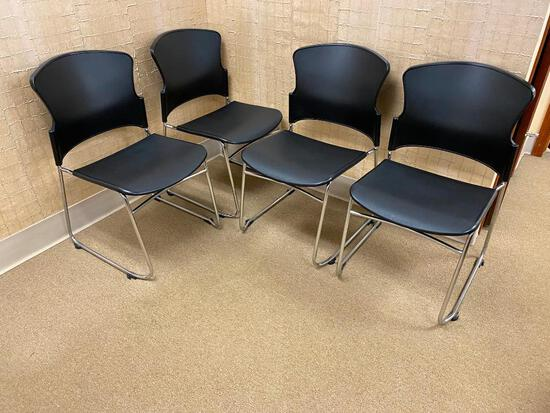 Lot of 4 Lobby Chairs, Molded Plastic Seat/Back & Chrome Frame