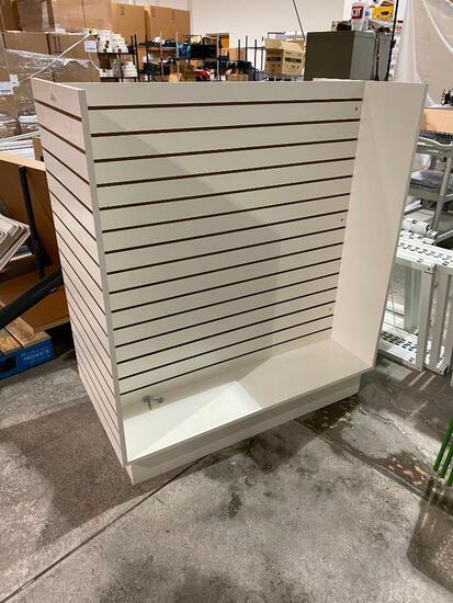 Stationary Slat Wall Merchandiser Retail Display Unit w/ Some Hooks/Baskets