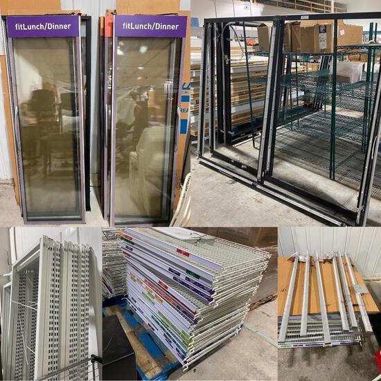 4 Walk-In Cooler Glass Door Frames, 8 Glass Doors, 12 LED Lights & 50+ Merchandiser Shelves & 8