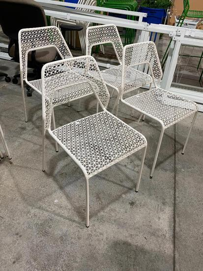 Lot of 4, Blue Dot White Hot Mesh Metal Chairs, Color: White Hot