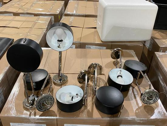 Lot of 7 Wall or Ceiling Mount Adjustable Arm Light Fixtures