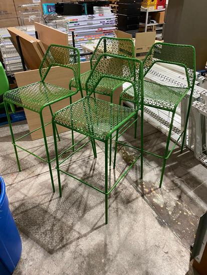 Lot of 4, Blue Dot Hot Mesh Metal Barstools, Green