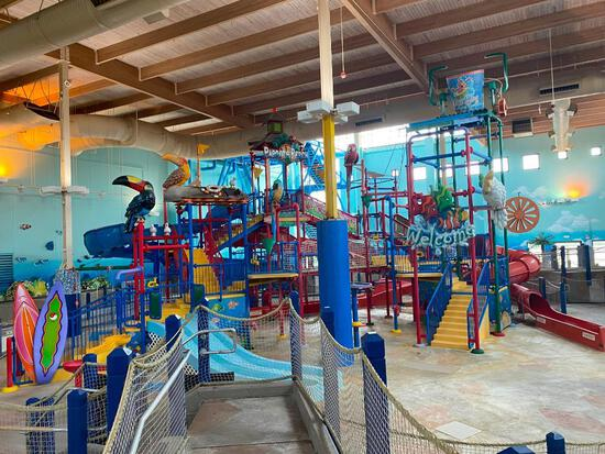Indoor Water Park Main Structure, Includes Several Slides, Water Cannons, Stairs, Platforms,