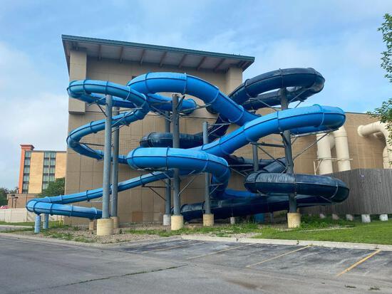 Three Outdoor / Indoor Heavy Duty Water Slides w/ 3 Interior Chutes, Huge Platform w/ Entrance