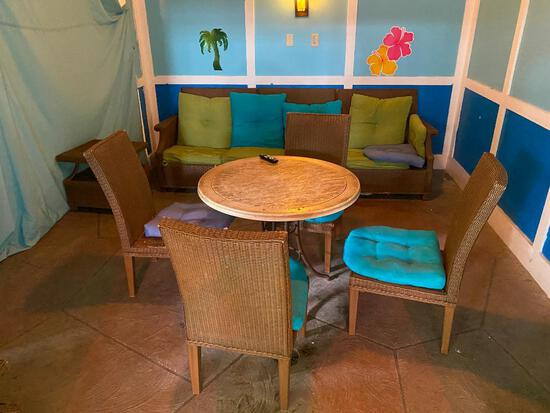 Composite Wicker Patio Furniture, Table, Chairs, Couch, TV w/ Wall-Mount Bracket, Cushions, Table,