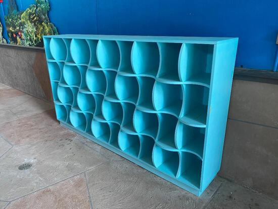 Aqua Painted Wooden Cube Style Storage Cabinet, Waved Water Design
