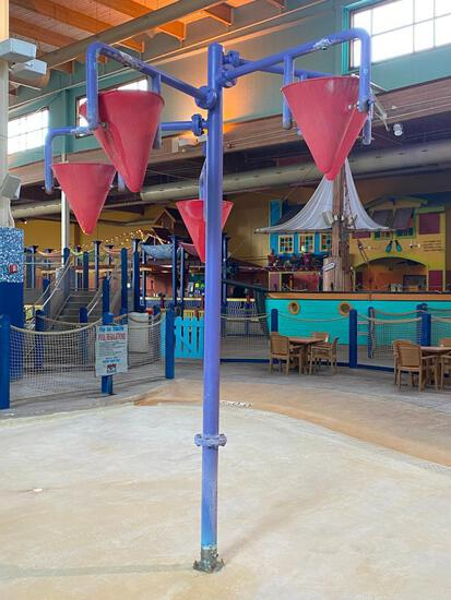 Splash Park Water Dump Feature, Steel Pipe w/ Extensions and Cones that Dump Water when Filled