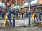 Water Park Decoration, Painted Wooden Poles and Faux Coconuts, Some Coconuts w/ Tribal Faces