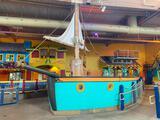 Large Decorative Pirate Ship w/ Bench Seating, Mast, Sail, Signs, Portholes
