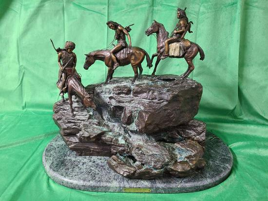 """""""Indian Scouting Party"""" Inspired by C. M. Russell 66/500 - Bronze Fountain Sculpture on Stone Base"""