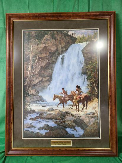 """""""Crossing Below the Falls"""" by Howard Terpning Signed and Numbered 587/1000 22 1/2"""" x 32"""""""
