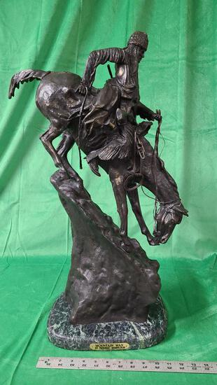 """""""Mountain Man"""" by Frederic Remington 27"""" Tall Bronze Sculpture"""