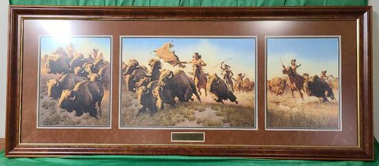 """""""Splitting the Herd"""" by Frank C. McCarthy Signed and Numbered 23/550 21 1/2"""" x 14 3/8"""""""