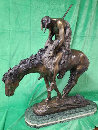 """""""End of the Trail"""" by James E. Fraser - Solid Bronze Statue 35"""" Tall"""