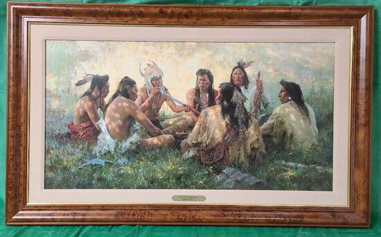 """""""Crow Pipe Ceremony"""" by Howard Terpning Signed and Numbered 264/975 38"""" x 19 5/8"""""""