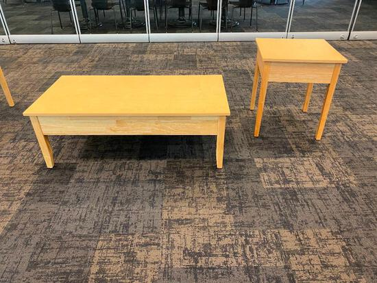 Solid Wood Coffee Table and End Table, University Loft Co. 48in x 24in x 17in H & 21in x 21in x 24in
