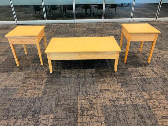 Solid Wood Coffee Table and Two End Tables, University Loft Co. 48in x 24in x 17in H & 21in x 21in x