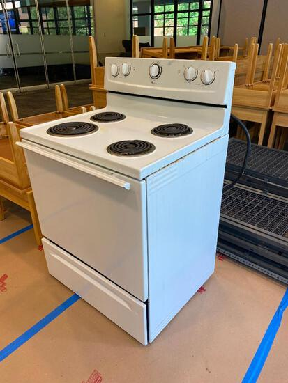 Whirlpool Electric Range / Oven, White, 30in Wide, 24in Deep, 36in to Burners, 47in Tall in Back