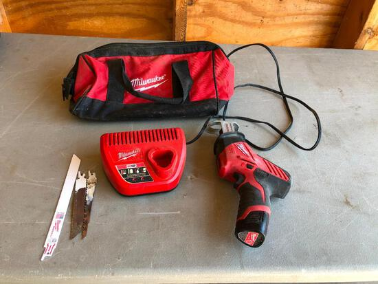 Milwaukee No. 2420-20 Hackzall Reciprocating Saw, Cordless Battery Operated w/ Charger, Battery &