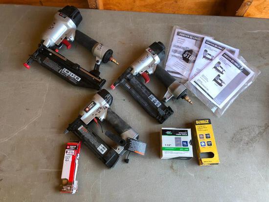Lot of 3 Porter-Cable Air Nailers, Finish Nailers, Pin/Brad Nailer w/ Manuals, Nails
