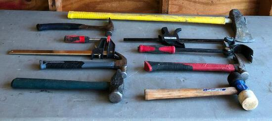 Hammers & Clamps, Pry Bar, Axe, Several Types of Hammers, Pry Bar, 2 Clamps