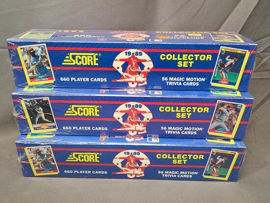(3) 1989 SCORE Major League Baseball Collector Sets Product #9916 - Factory Sealed