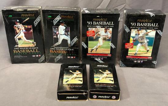(6) SCORE PINNACLE - (2) 1992, (2) 1993 Player Cards & (2) Joe DiMaggio Exclusive 30 Card Sets -