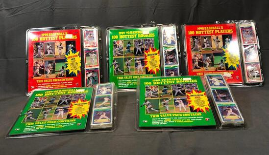(5) SCORE 1990 Baseball's 100 Hottest Players Value Packs - Factory Sealed