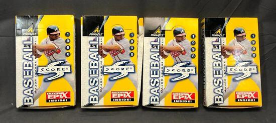 (4) PINNACLE 1998 Major League Baseball Card Wax Packs - Pinnacle EPIX Inside - 36 Packs & 10 Cards