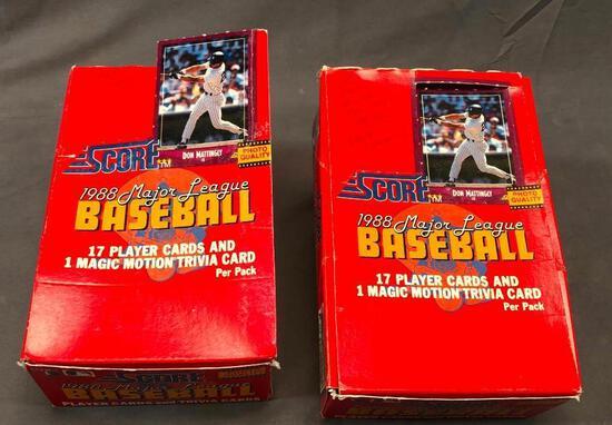 (2) SCORE 1988 Major League Baseball Wax Packs - (17) Player Cards & (1) Magic Motion Trivia Cards