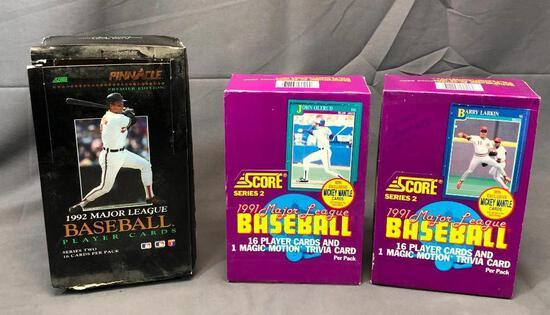 Total 3 Boxes - (2) SCORE 1991 Major League Baseball 17 Per Pack & PINNACLE 1992 Premier Edition