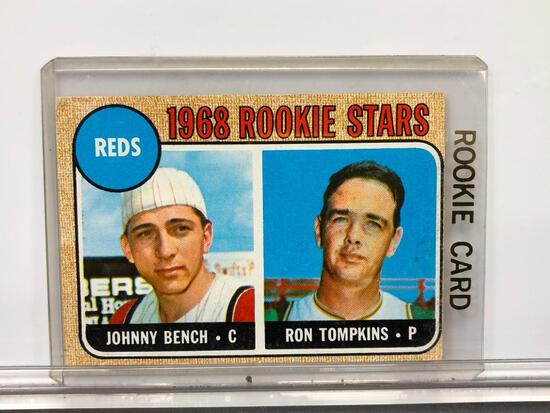 1968 Topps #247 Rookie Card - Reds' Rookie Stars - Johnny Bench - Catcher & Ron Tompkins - Pitcher